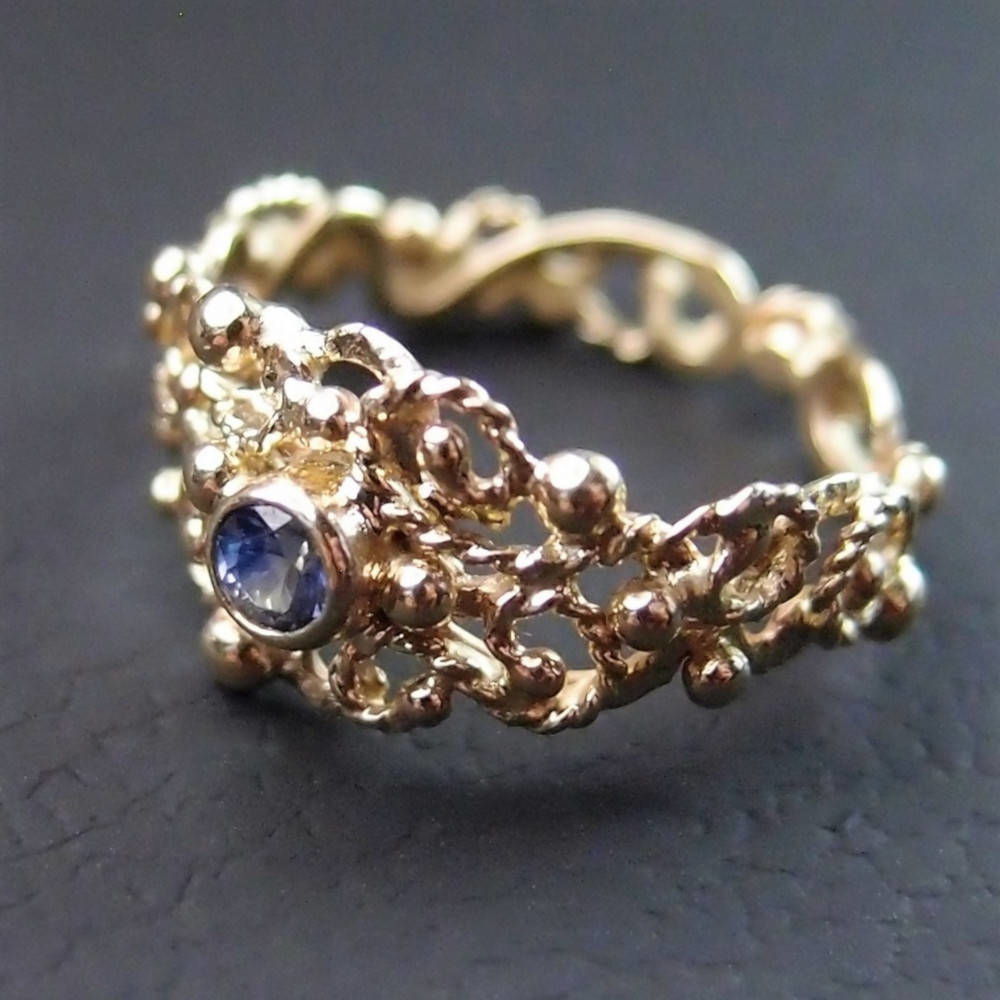 organic ring with blue sapphire by Lookrecya