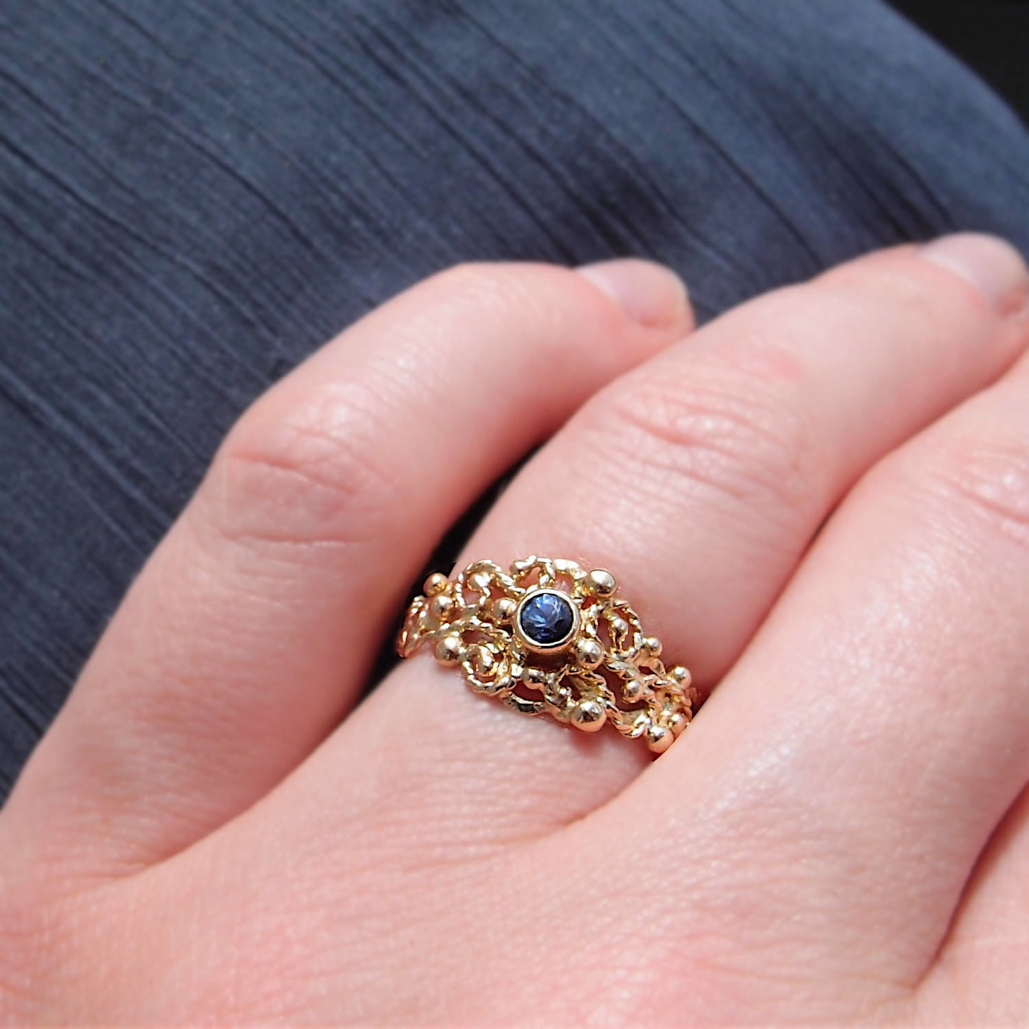 unique gold sapphire ring by lookrecya