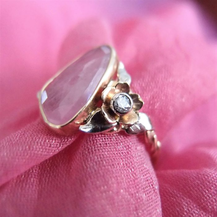 Unique floral engagement ring with pink tourmaline by Lookrecya