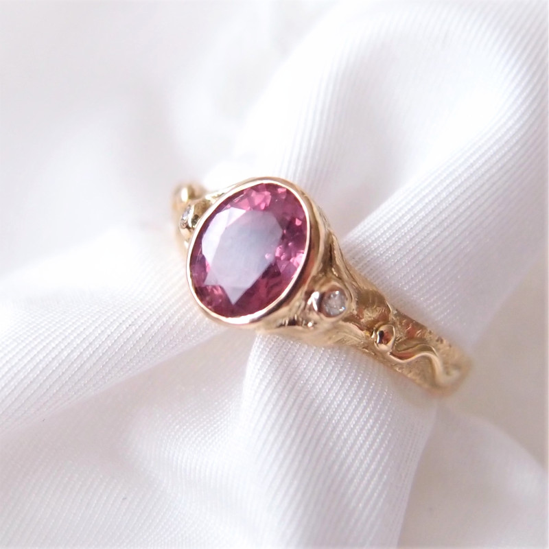 Pink sapphire engagement ring ring