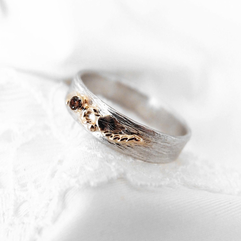 srebrna obrączka z jesienneym motywem od Lookrecya