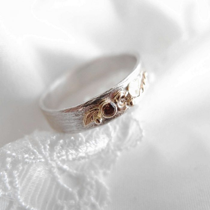 Botanical sterling silver ring with gold and diamond