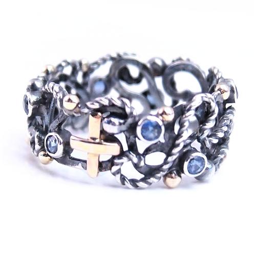 Oryginalny pierścionek ze srebra i złota od Lookrecya