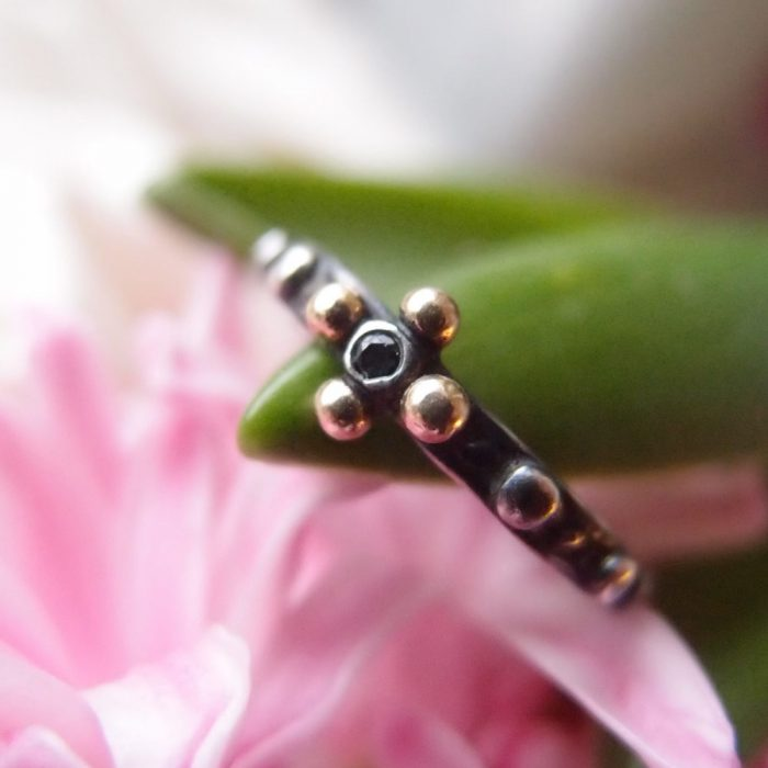 Unique rosary ring by Lookrecya- rosary with black diamond
