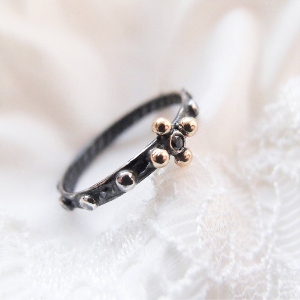 Dainty rosary ring with black diamond and dark silver