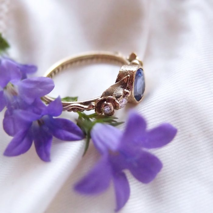 Botanical engagement ring with tanzanite by Lookrecya