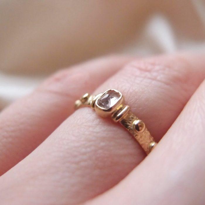 Gold rosary with diamond. Catholic ring