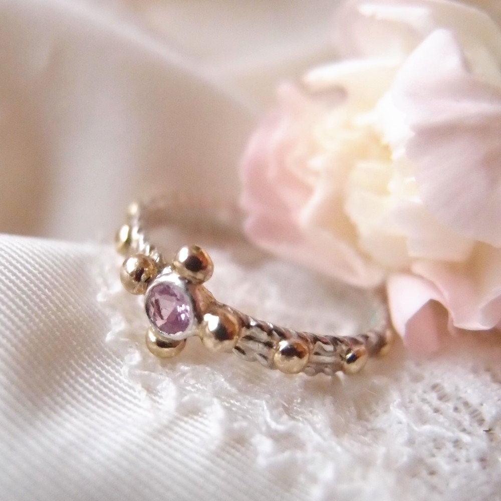 Romantic rosary ring with pink sapphire