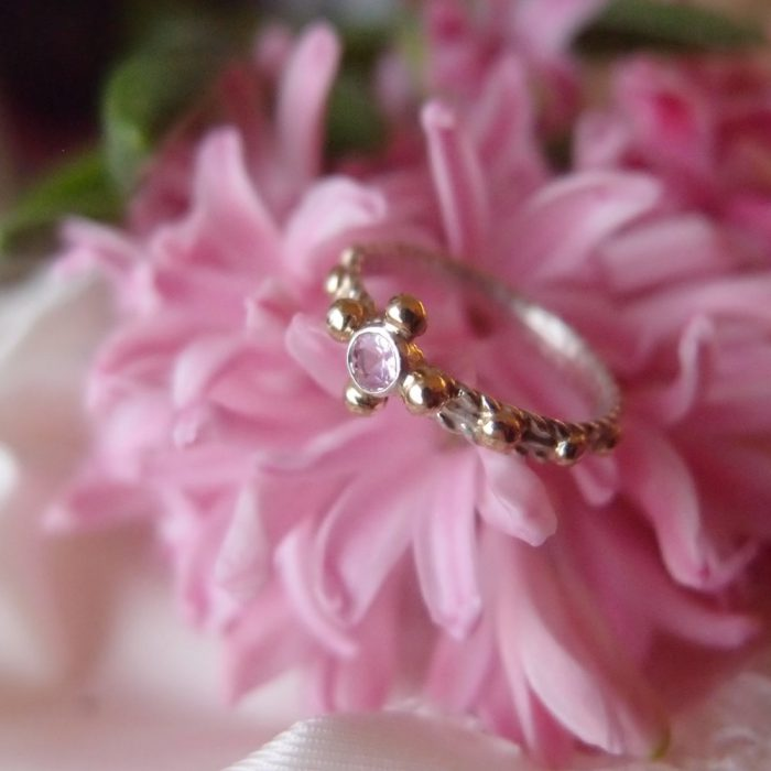 Unique rosary ring with silver, gold and pink sapphire
