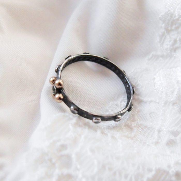 Simple rosary ring in dark silver