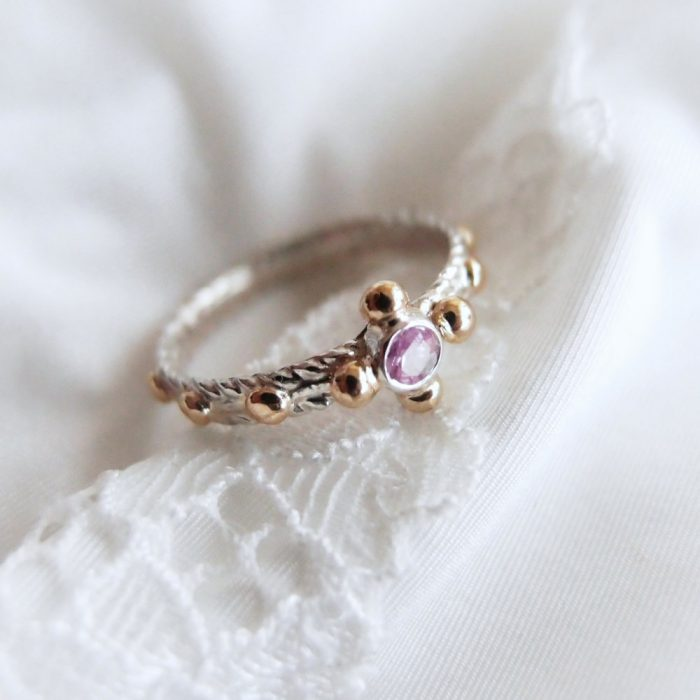 Silver rosary ring with pink sapphire