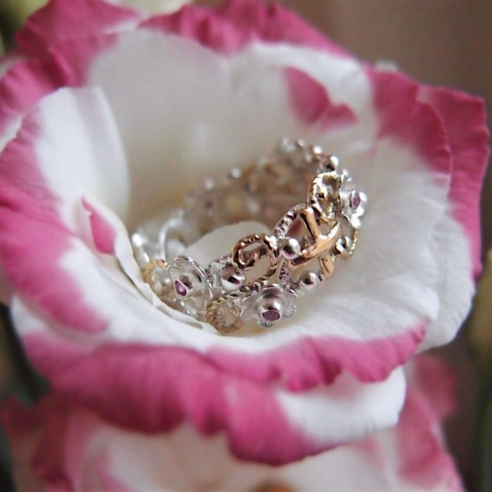 Floral rosary ring with rubies