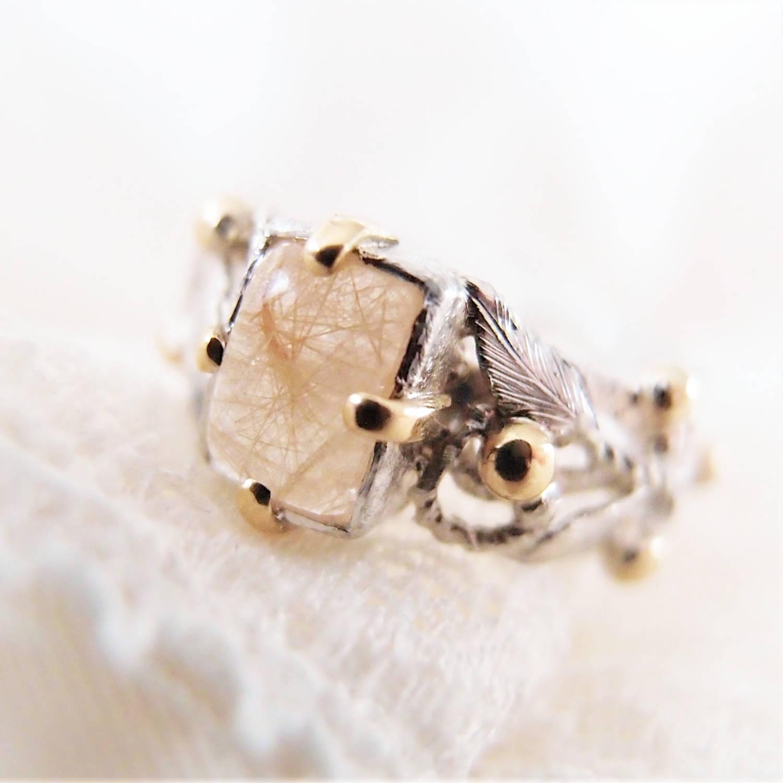 Pierścionek z kwarcem rutylowym , listaki i złotem od Lookrecya Dream Jewelry