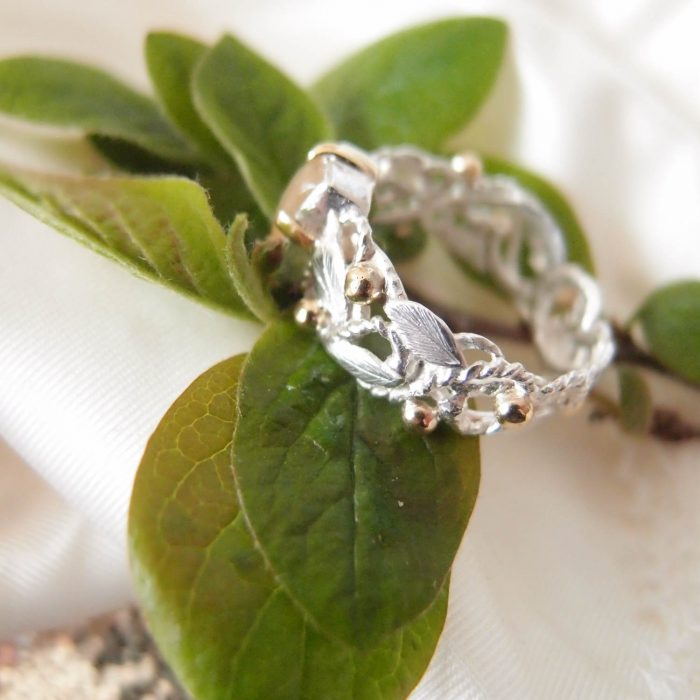 Unique botanical silver and gold ring by Lookrecya