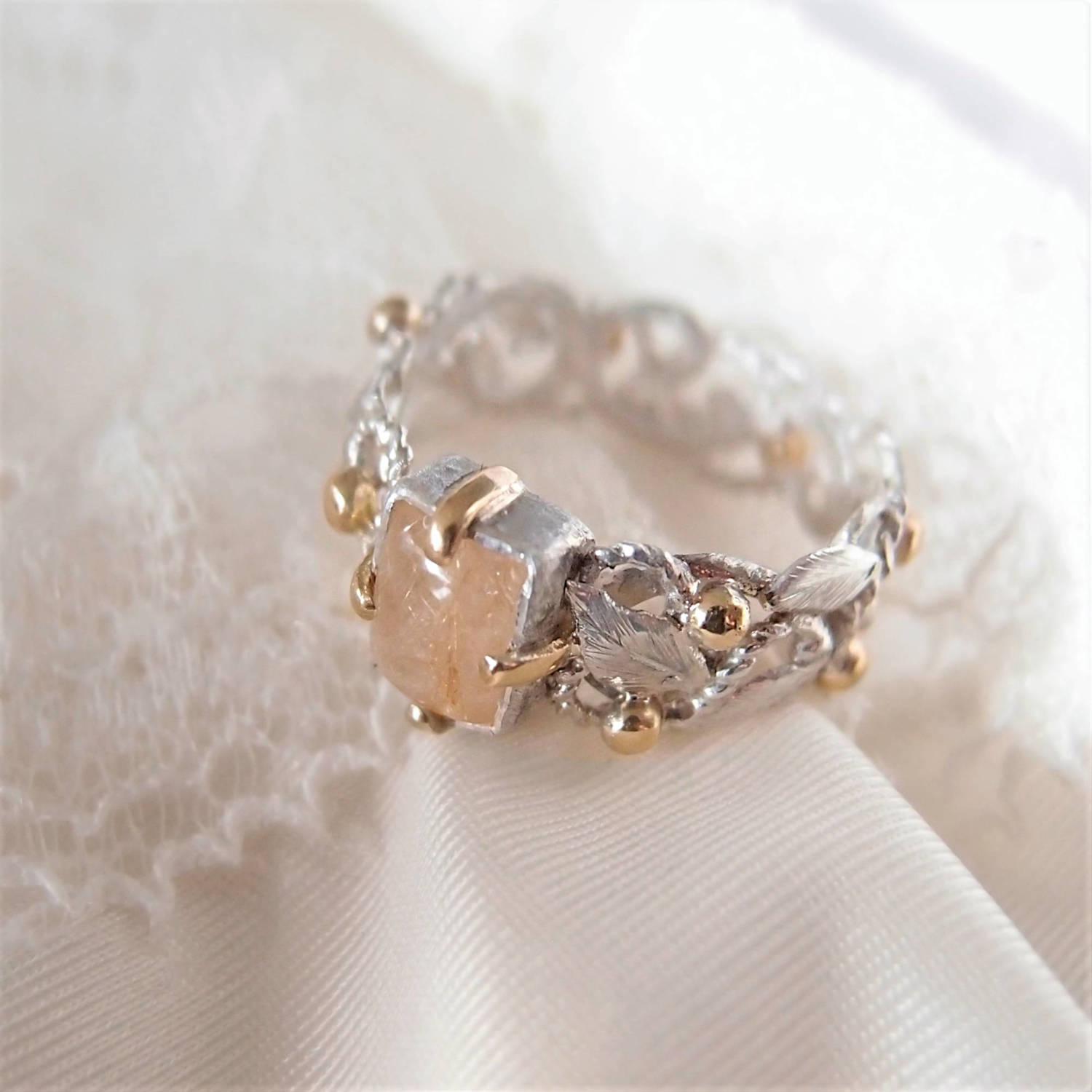 Unique rosary ring with golden beads and silver leaves by Lookrecya