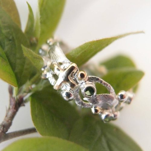 Rosary ring with green stones