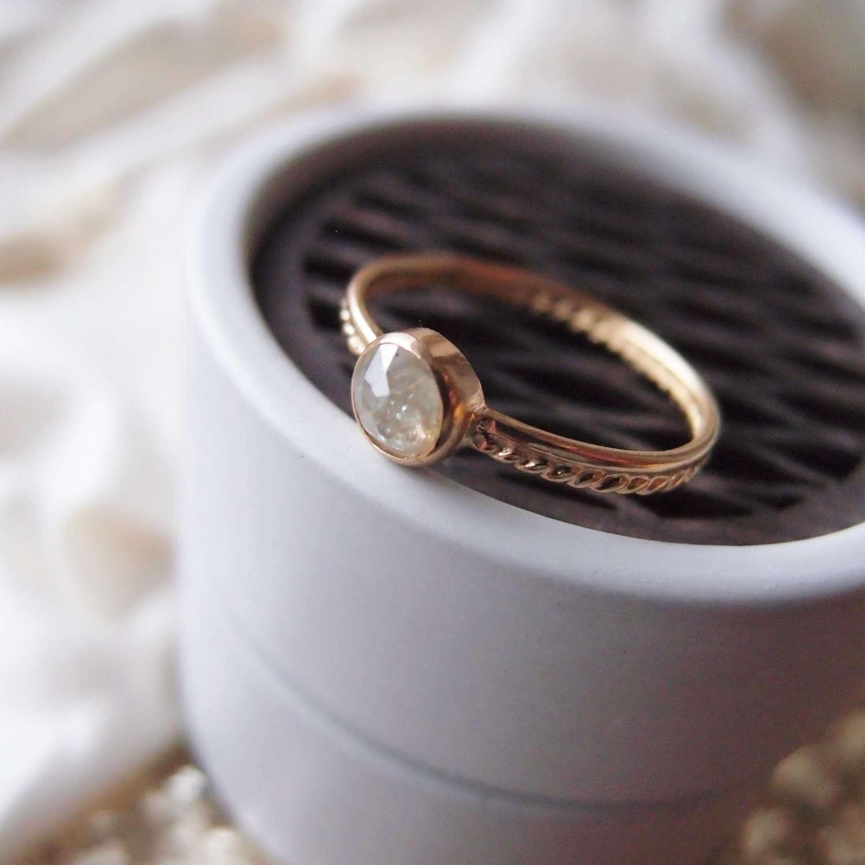 Boho engagement ring with rose cut diamond