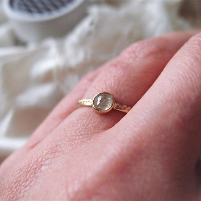 Dainty engagement ring with rose cut diamond