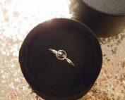 Boho engagement ring with black diamond