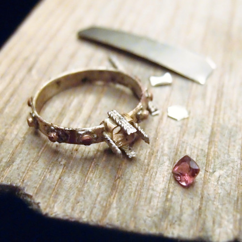 Bespoke rosary ring in gold and pink tourmaline